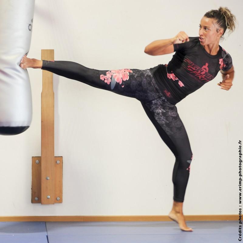 Legging de sport de combat femme noir FIGHTING SPIRIT, élément bois.