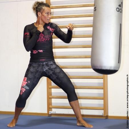 Corsaire de sport de combat femme noir FIGHTING SPIRIT, élément bois.