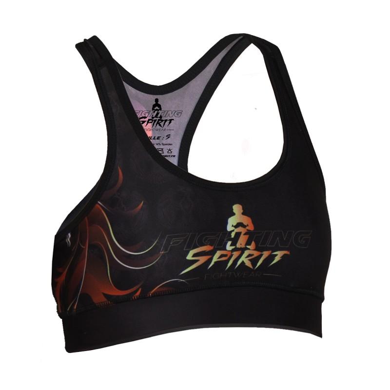 Brassière de sport femme FIGHTING SPIRIT, élément feu.