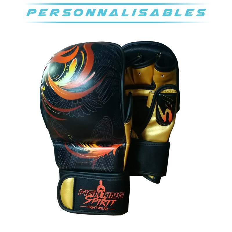 Gants de sparring MMA personnalisables FIGHTING SPIRIT feu.