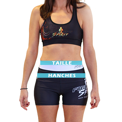 Mesures shorts de compression femme FIGHTING SPIRIT